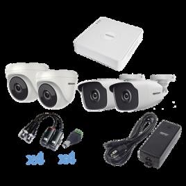 KIT TurboHD 720p / DVR 4 Canales / 2 Cámaras Bala (exterior 2.8 mm) / 2 Cámaras Eyeball (interior 2.8 mm)