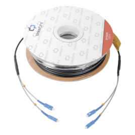 Carrete de fibra óptica monomodo con conectores SC-SC Duplex, reforzada con Kevlar, de 100 metros