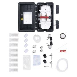 Caja de Distribución de Fibra Óptica, Hasta 96 Empalmes, Exterior IP65, Color Negro